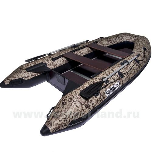Лодка Омолон (Omolon) SLDK A-340 DP КМФ камуфляж коричневый пиксель